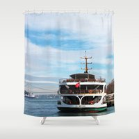 ship Shower Curtains featuring Ship by kartalpaf