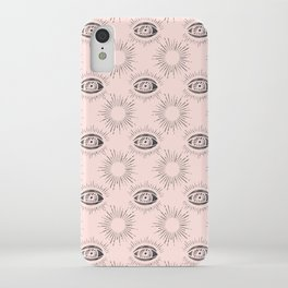 Sun and Eye of wisdom pattern - Pink & Black - Mix & Match with Simplicity of Life iPhone Case