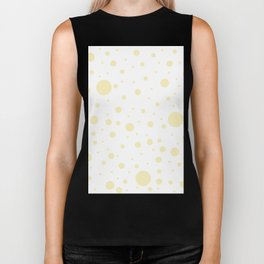 Mixed Polka Dots - Blond Yellow on White Biker Tank