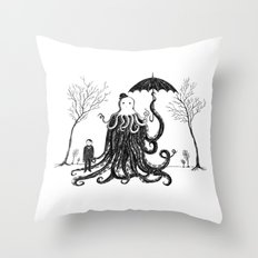 Young Master Lovecraft Finds A Friend Throw Pillow
