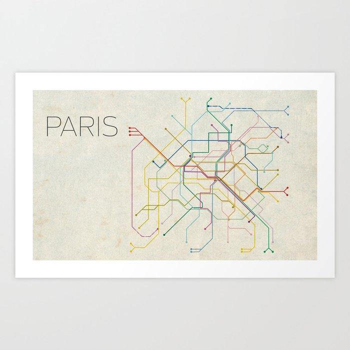 Minimal Paris Subway Map Art Print By Chrisnapolitano Society6