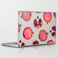 patterns Laptop & iPad Skins featuring Pomegranate Pattern by Georgiana Paraschiv