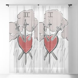 3 of Swords Sheer Curtain