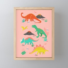Jurassic Dinosaurs on Pink Framed Mini Art Print