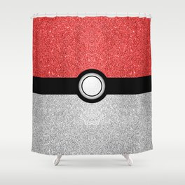 Sparkly red and silver sparkles poke ball Shower Curtain