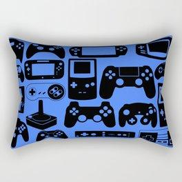 Retro Controllers - Blue Rectangular Pillow