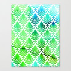Damask in Bright Seaweed Canvas Print