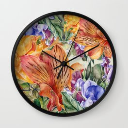 Alstroemeria & Lathyrus Wall Clock