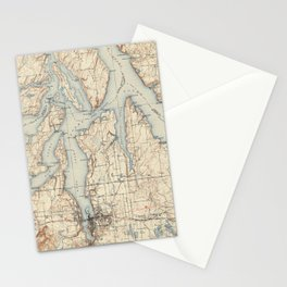 Vintage Map of The Puget Sound (1934) Stationery Cards