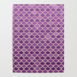 Mermaid Scales Pattern in Purple and Rose Gold Poster