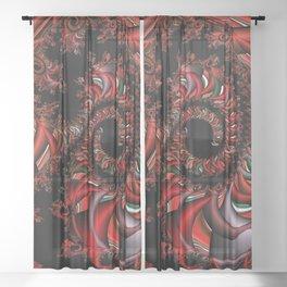 Red Dragon Fractal Sheer Curtain