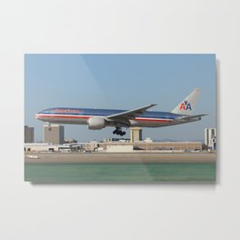 American Airlines 777 landing at LAX Metal Print