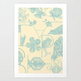 Letters in blue Art Print