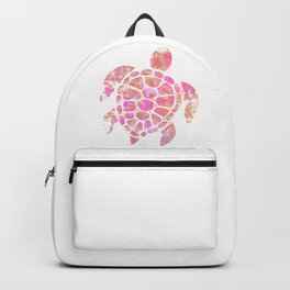 Sea Turtle Design in Pink and Orange Paint Drops Pattern Backpack