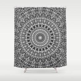Grey Lace Ornament Mandala Shower Curtain
