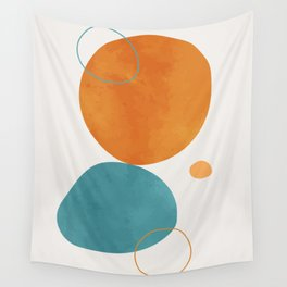 Vintage orange watercolor hand painted background. Lovely abstract art. Elegent home decor. Wall Tapestry