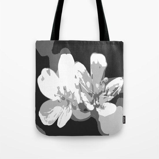 Retro Flowers in Black and White Tote Bag