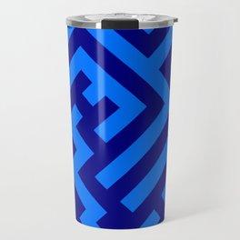 Brandeis Blue and Navy Blue Diagonal Labyrinth Travel Mug