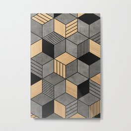 Concrete and Wood Cubes 2 Metal Print