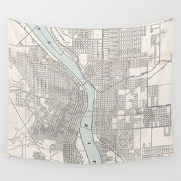 Vintage Map of Portland Oregon (1901) Wall Tapestry