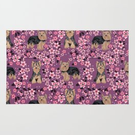 Yorkie cherry blossoms yorkshire terrier cute dog pattern pet friendly dog art Rug