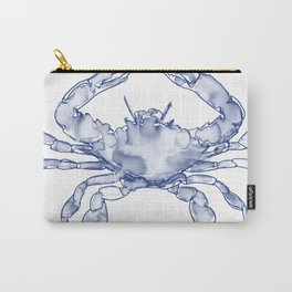 Crab Watercolor (Part of a Set of Three), Navy and White Carry-All Pouch