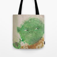 yoda Tote Bags featuring Yoda by lindenhellart