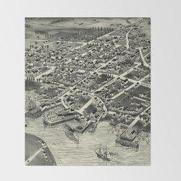 Vintage Pictorial Map of Edgartown MA (1886) Throw Blanket