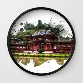 Japanese Red Temple in Kaneohe Hawaii Watercolor Art Wall Clock