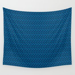 Blue Square Geometric Patterns Wall Tapestry