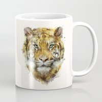 tiger Mugs featuring Tiger // Strength by Amy Hamilton