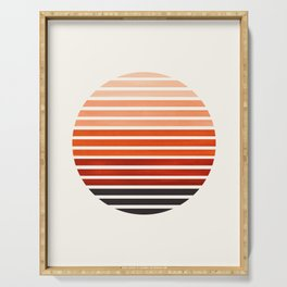 Burnt Sienna Mid Century Modern Abstract Minimalist Circle Sunset Stripes Ombre Watercolor Geometric Serving Tray