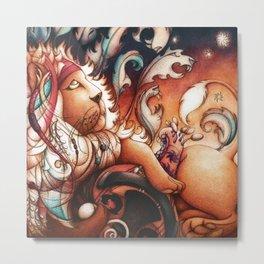 Hippy Lion Metal Print