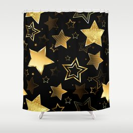 Seamless with Golden Stars Shower Curtain