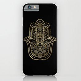 Lotus Gold Hamsa Hand iPhone Case