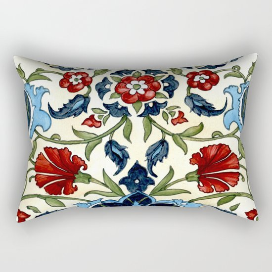 Tile with Carnations Rectangular Pillow