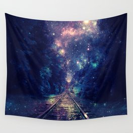 """Dream Train Tracks : """"Next Stop, Anywhere"""" Wall Tapestry"""