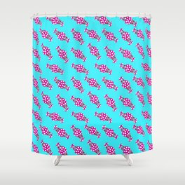 cute candy in pink polka dot wrappers against blue background children design Shower Curtain