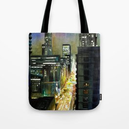 Chicago At Night Watercolor Painting Tote Bag