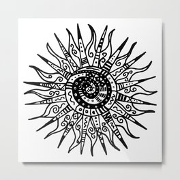 Sun Doodle black and white drawing Metal Print
