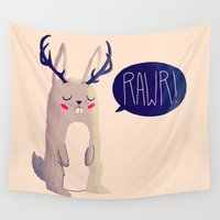 jackalope Wall Tapestries featuring Fearsome Critter by Nan Lawson