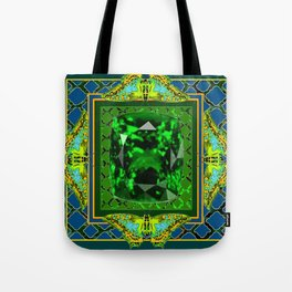 DECORATIVE  GREEN EMERALD GEM & BUTTERFLY ART DESIGN Tote Bag