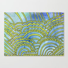 Water & Color Drawing Meditation - Lime Canvas Print