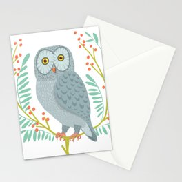 OWL WITH BERRIES Stationery Cards