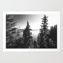Mountain Lake Forest Black and White Nature Photography Art Print