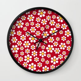 Dizzy Daisies - Red Wall Clock
