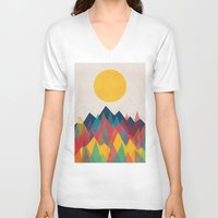 mountains V-neck T-shirts featuring Uphill Battle by Picomodi