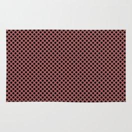 Dusty Cedar and Black Polka Dots Rug