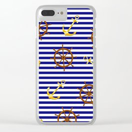 Nautical pattern with gold anchor, ship steering wheel Clear iPhone Case