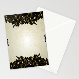 Abstract golden frame with pearls Stationery Cards